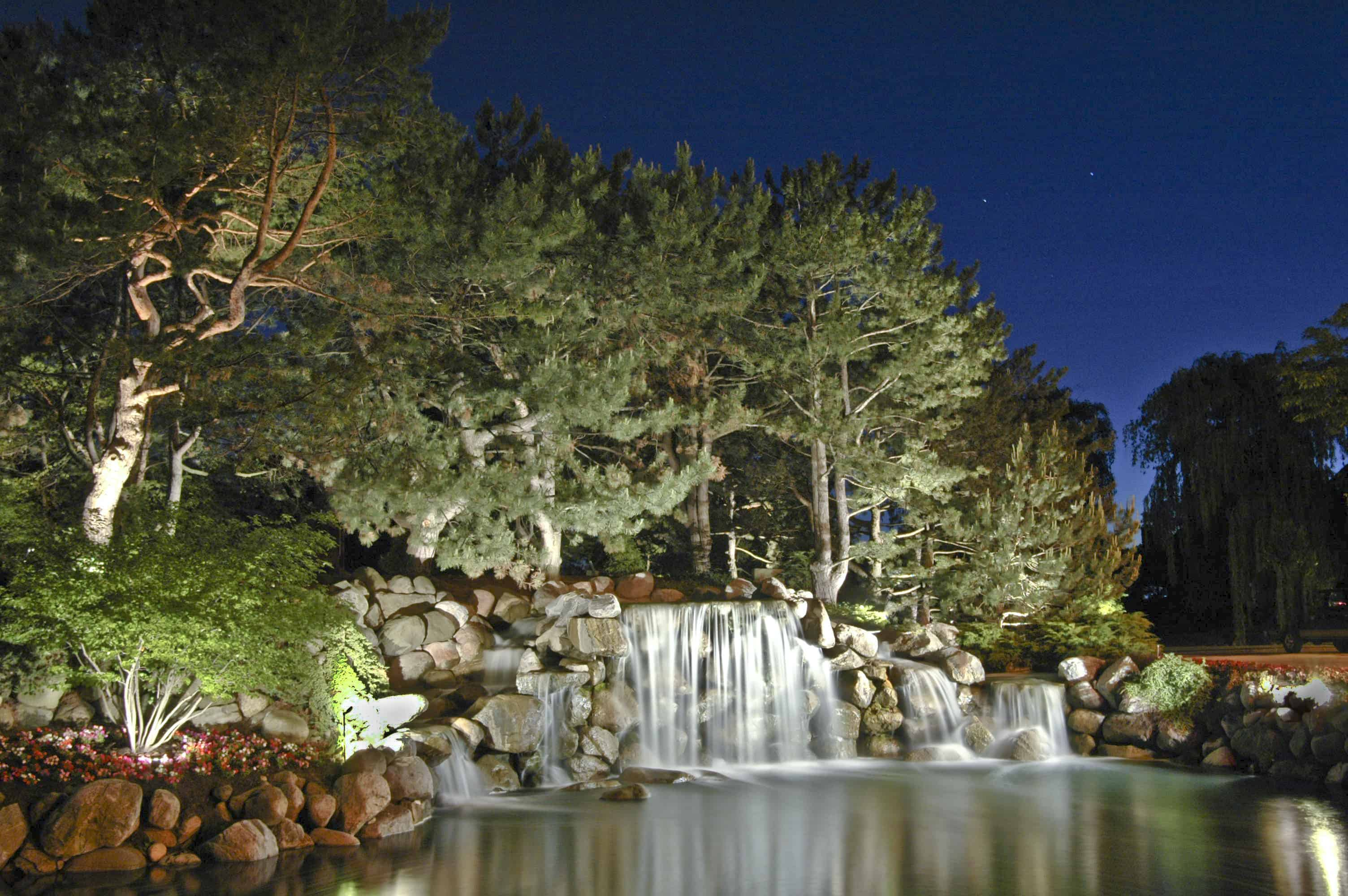 Ancient Tree Waterfall Outdoor Lighting In Chicago Il