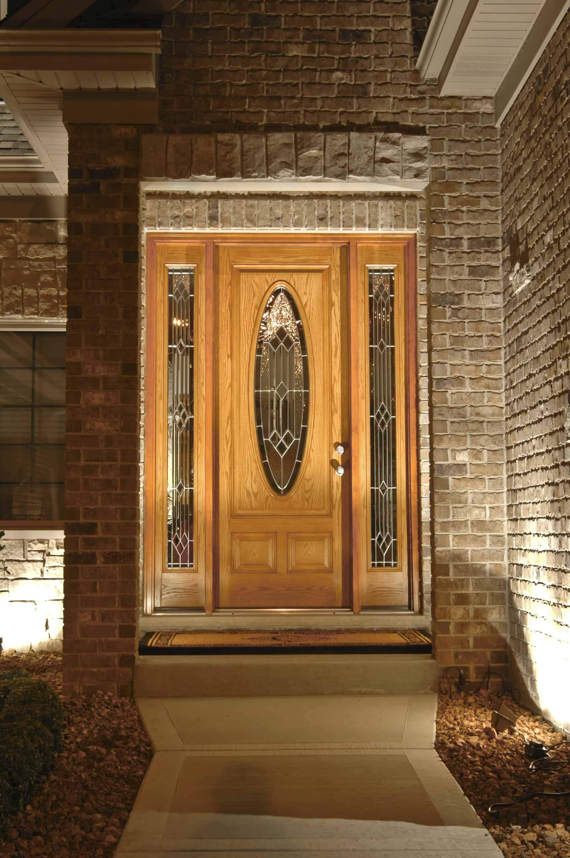 Door Lighting Dramatic Scroll Work Sconces On Each Side Of An Entry Door Lighting Has